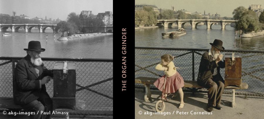 Organ grinder on the banks of the river Seine, Paris. Left: 2-G82-S4-1955 (c) akg-images / Paul Almasy.  Right: 2-G82-S4-1956-1 (C) akg-images / Peter Cornelius