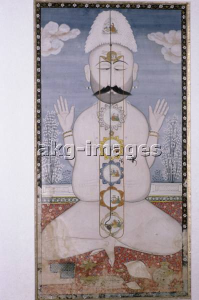 3IN-U1-P57 The human body with chakras, Indian miniature, Kangra School, 18th Century @ R. & S. Michaud / akg-images