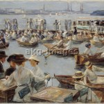 On the banks of the river Alster in Hamburg, 1910. Oil on canvas, 85.5 x 104cm. akg-images