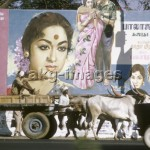 Street scene in Madras with billboards advertising a film. Photo: R. u. S. Michaud / akg-images