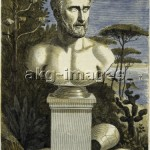 1GR-17-I1-B / Pythagoras'. - (After an antique in the Museum of Naples). Woodcut, colour applied later. © akg-images