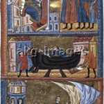 2-M120-J2-1275 / Illumination, Acre (Akko) Palestine 1275/1300. - The story of Jason and the Argonauts travel to the Golden Fleece. - From: Li Livre des Ansiennes Estoires. / © akg-images / British Library