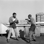- Mandela (left), imprisoned on charges of high treason with another 156 activists, keeps fit by shadow boxing with the professional boxer Jerry  Moloi (right) in Orlando. -             Photo, September 1957.                  photo: africanpictures / akg