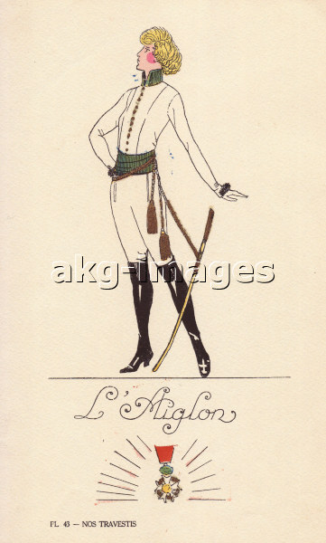 Woman in fancy dress costume as the eaglet, l'Aiglon, in white uniform, black boots, and sword with tassles, AKG2191556, © akg-images / Florilegius