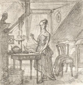 "Bluestocking"", drawing, undated, by Albert Hendschel © akg-images"