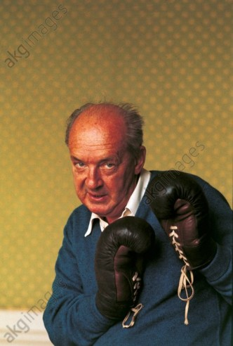 Vladimir Nabokov posing with boxing gloves, 1960s
