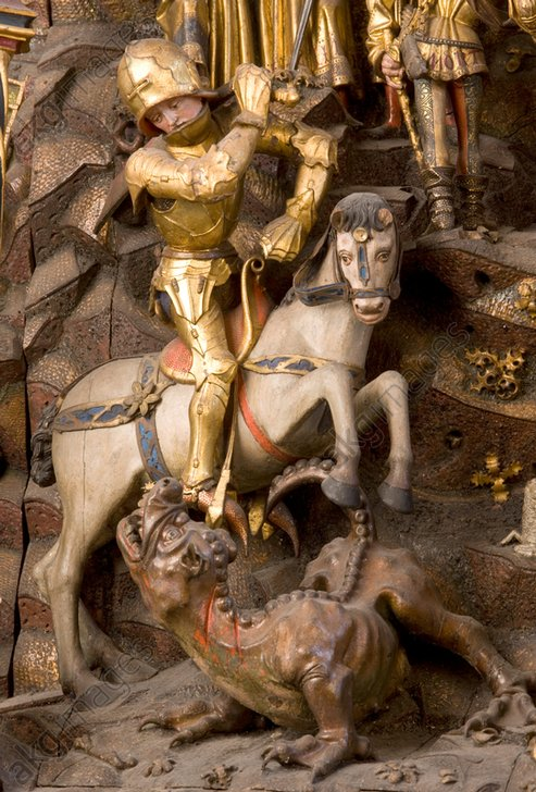 Detail from the St George Altarpiece, St. Nicolai, Kalkar, by Arnt von Zwolle, showing St George's battle with the dragon © akg-images / Bildarchiv Monheim