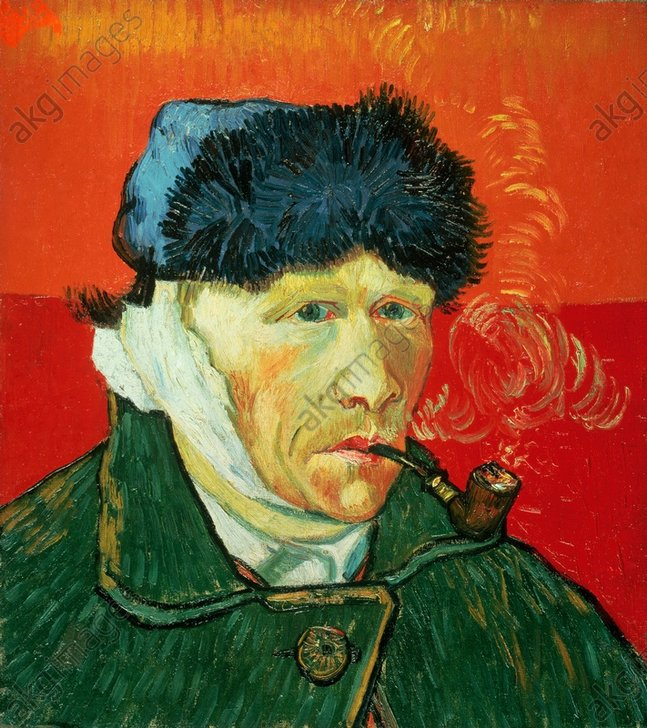 "Gogh, Vincent van Dutch painter Groot-Zundert near Breda 30.3.1853 – (suicide) Auvers-sur-Oise 29.7.1890. – ""Self-portrait with fur hat, bandaged ear and tobacco pipe"", January 1889. Oil on canvas, 51 × 45cm. Chicago, Mr. and Mrs. Leigh B. Block."