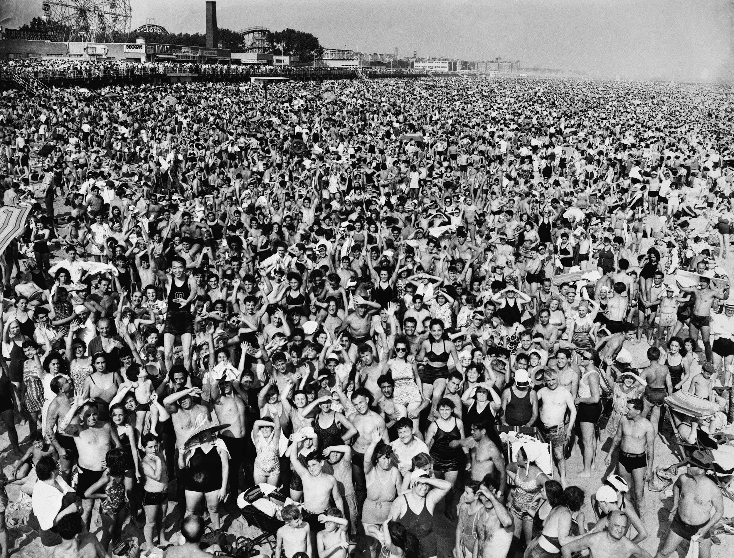 Coney Island on a quiet Sunday afternoon, a crowd of over a MILLION
