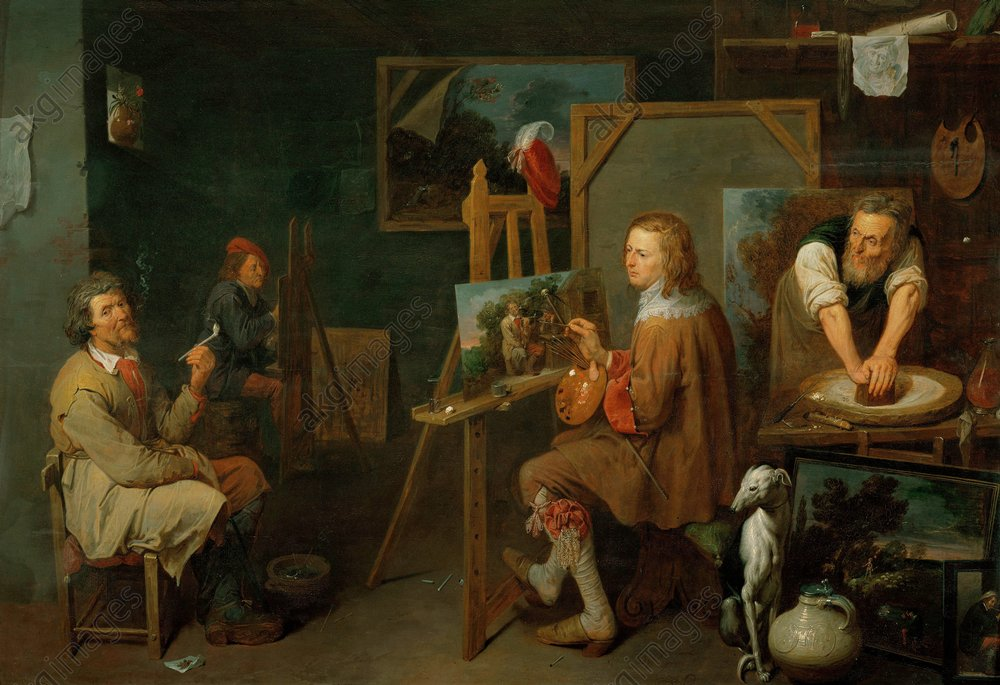 "David Ryckaert III, ""The workshop of the artist"", 1638 © akg-images / Erich Lessing"