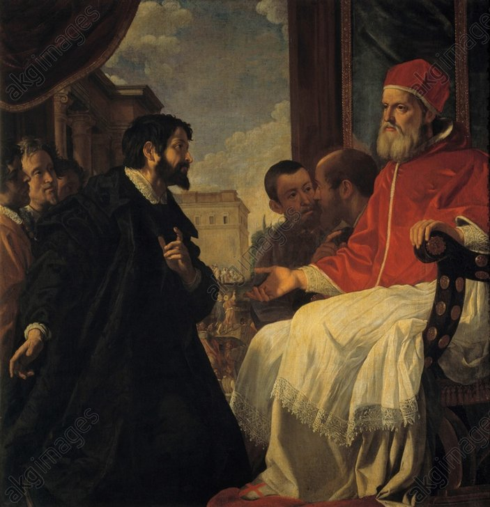 """Michelangelo bef. Pope Julius II in Bologna"", painting, 1620/21, by Anastasio Fontebuoni © akg-images / Rabatti - Domingie"