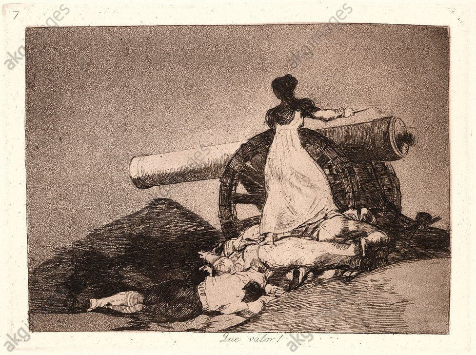 Francisco de Goya (Spanish, 1746–1828). What Courage! (Que Valor!), 1810– 1815 (printed 1863). From The Disasters of War (Los Desastres de la Guerra). Etching and aquatint. Plate 7.
