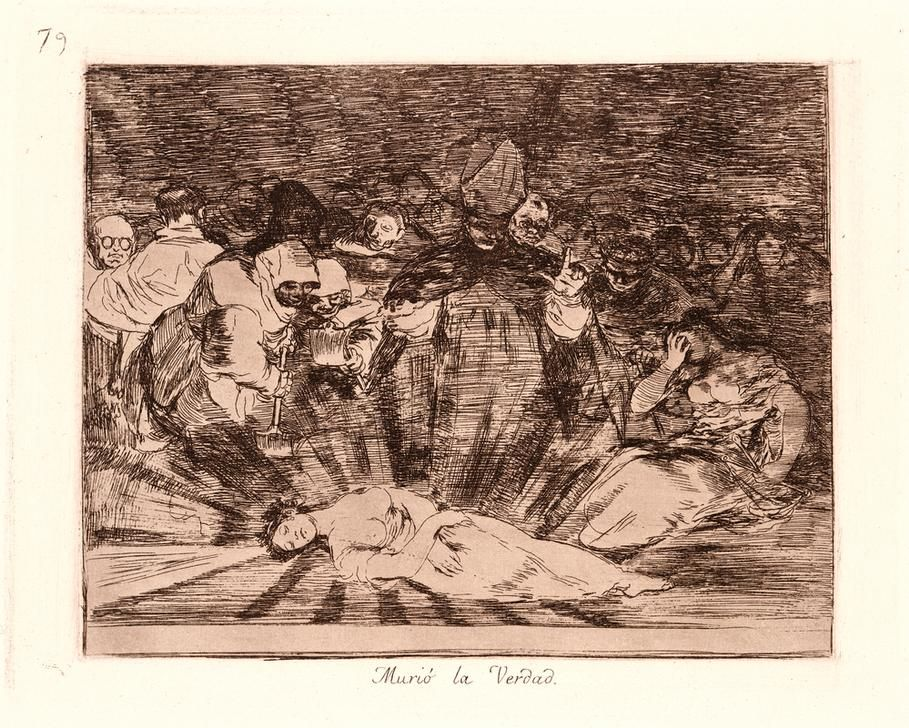 Francisco de Goya (Spanish, 1746–1828). Truth Has Died (Murió la Verdad), 1810–1815, printed 1863. From The Disasters of War (Los Desastres de la Guerra). Etching and aquatint. Plate 79