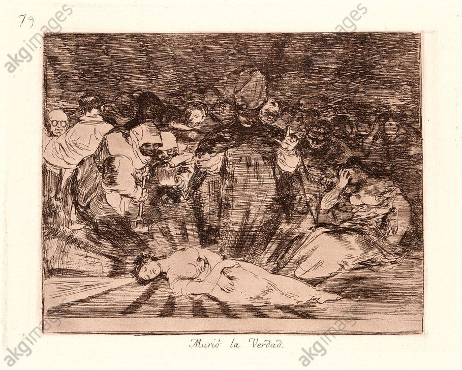 Francisco de Goya (Spanish, 1746–1828). Truth Has Died (Murió la Verdad), 1810–1815, printed 1863.  Etching and aquatint. Plate 79. Photo: akg-images / Quint & Lox