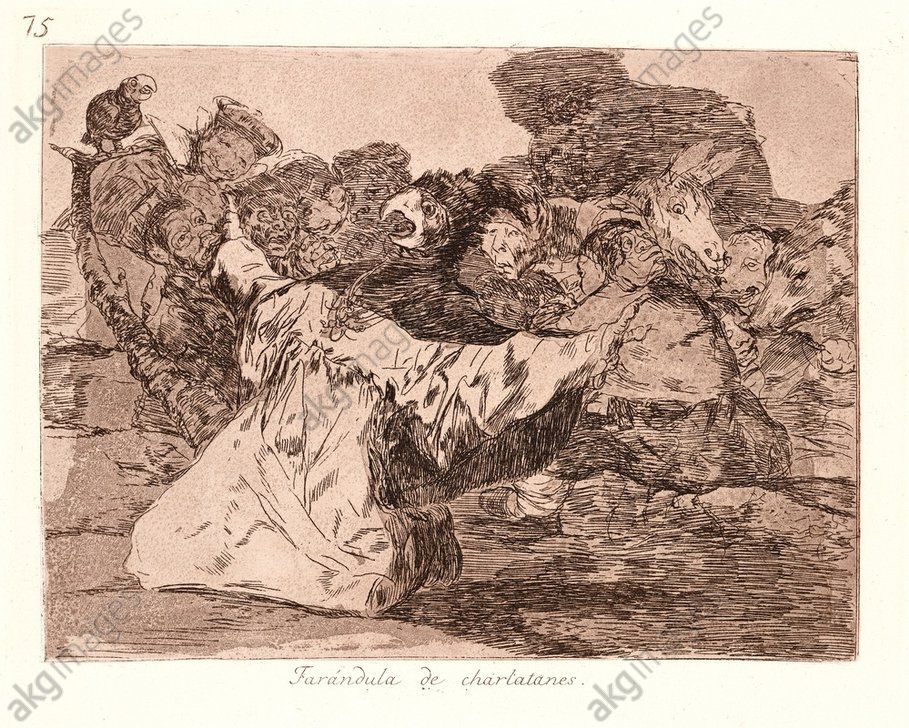 Francisco de Goya (Spanish, 1746–1828). Charlatans' Show (Farándula de Charlatanes), 1810–1815, printed 1863. From The Disasters of War (Los Desastres de la Guerra). Etching and aquatint. Plate 75