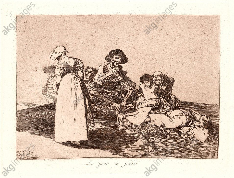 Francisco de Goya (Spanish, 1746–1828). The Worst Is to Beg (Lo Peor Es Pedir), 1810–1815, printed 1863. From The Disasters of War (Los Desastres de la Guerra). Etching and aquatint. Plate 55