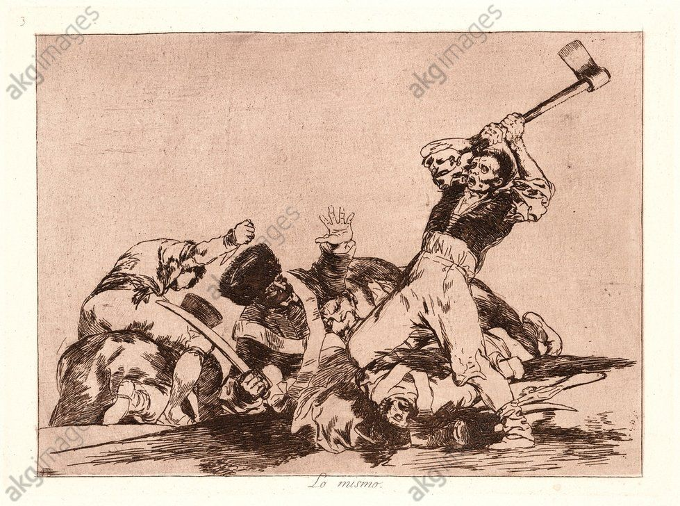 Francisco de Goya (Spanish, 1746–1828). The Same (Lo Mismo), 1810–1815, printed 1863. From The Disasters of War (Los Desastres de la Guerra). Etching and aquatint. Plate 3.