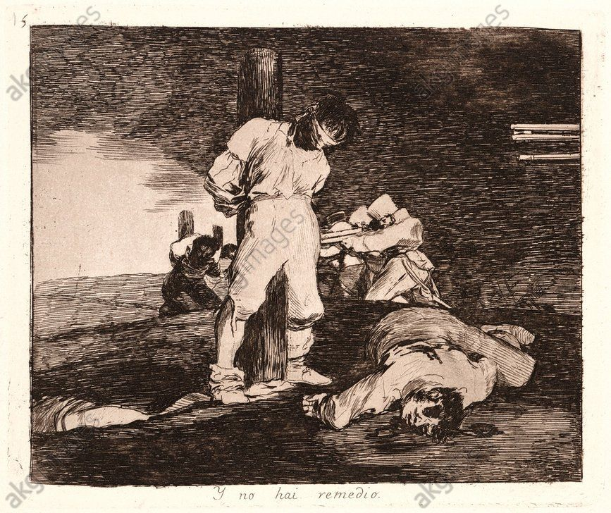 Francisco de Goya (Spanish, 1746–1828). And There's No Help for It (Y No Hay Remedio), 1810–1815, printed 1863. From The Disasters of War (Los Desastres de la Guerra). Etching and aquatint. Plate 15