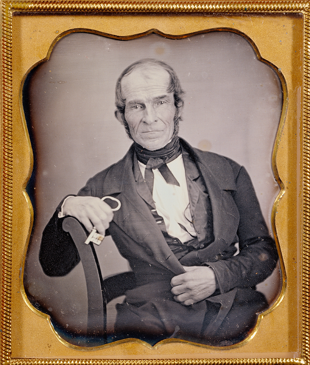 Portraits, Portraits of Men. America. Seated man holding  a key. Daguerreotype, 1844, 7 × 5.7 cm .