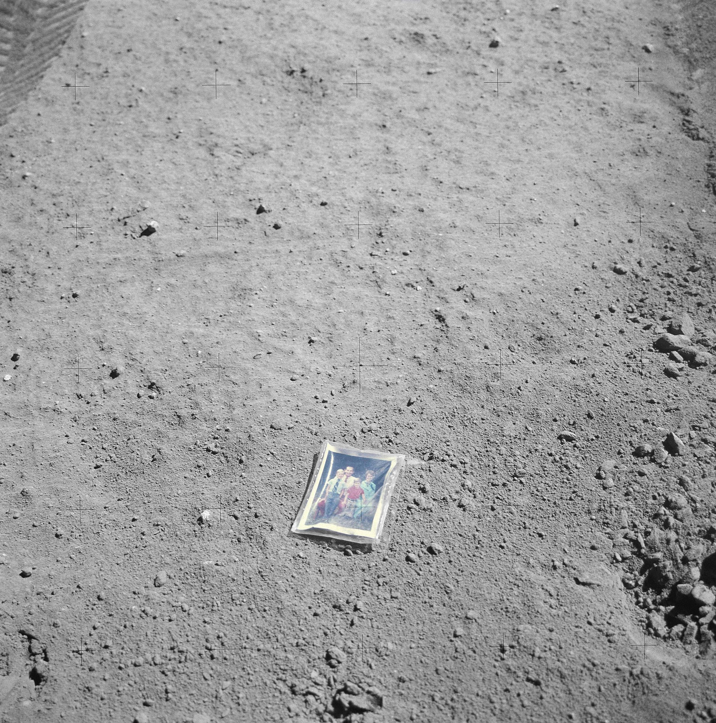 Family portrait photograph left on the Moon by Apollo 16 astronaut Charles Duke Jr. 1972